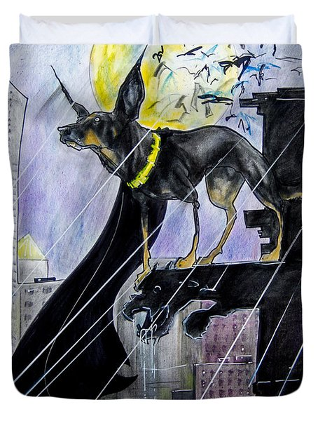 Bat-dog Caricature  Duvet Cover