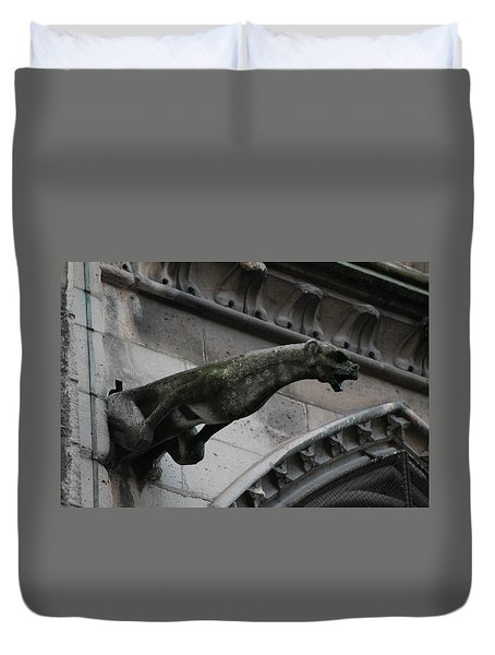 Duvet Cover featuring the photograph Bat Eared Dog Gargoyle Of Notre Dame by Christopher Kirby