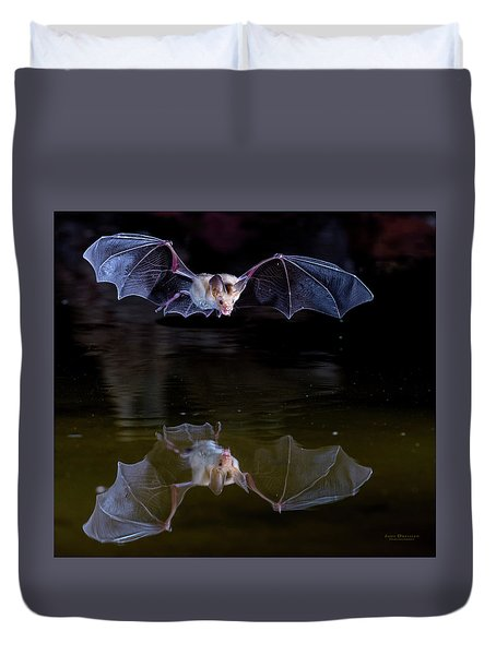 Bat Flying Over Pond Duvet Cover