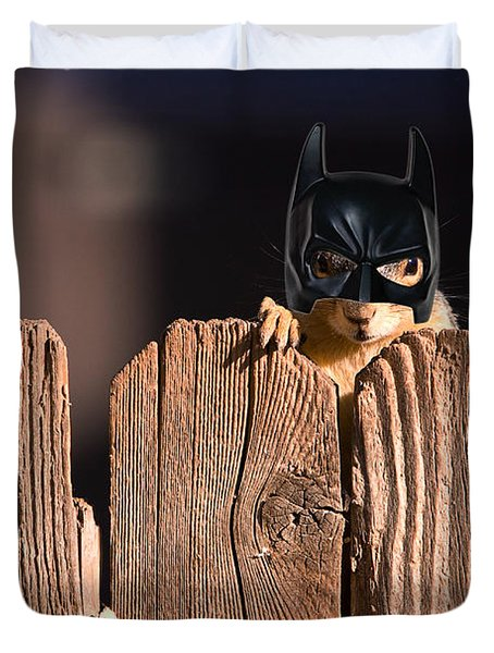 Bat Squirrel  The Cape Crusader Known For Putting Away Nuts.  Duvet Cover by James BO  Insogna