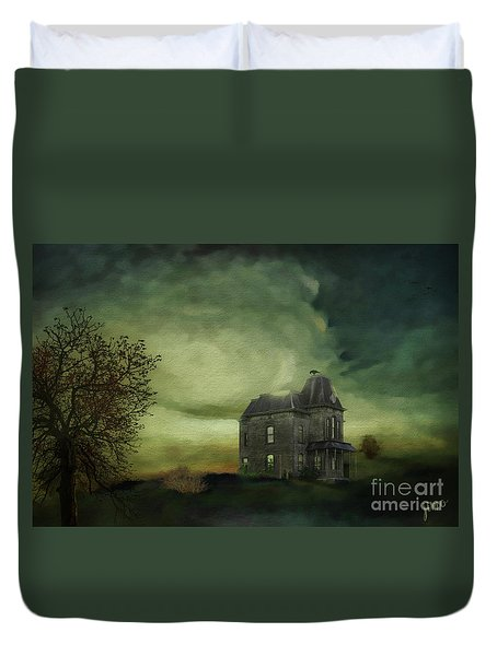 Duvet Cover featuring the mixed media Bates Residence by Jim  Hatch