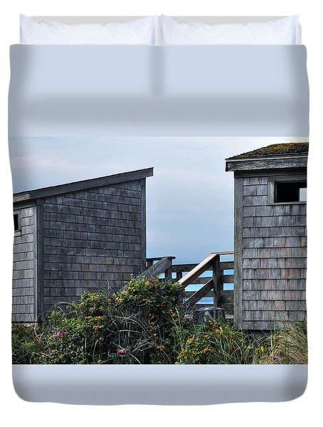 Bath Houses At Nobska Beach Duvet Cover