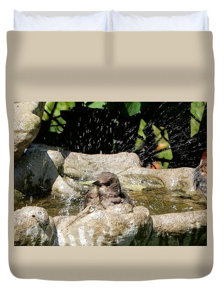 Duvet Cover featuring the photograph Bath Splash by Betty-Anne McDonald