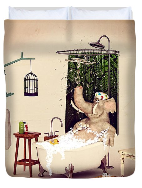 Duvet Cover featuring the digital art Bath Time by Methune Hively