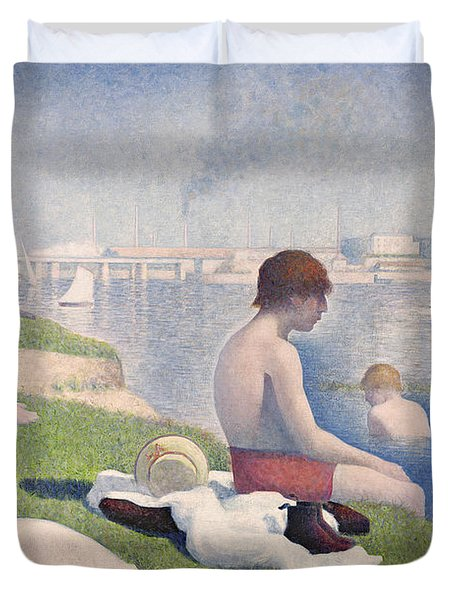 Bathers At Asnieres Duvet Cover by Georges Pierre Seurat