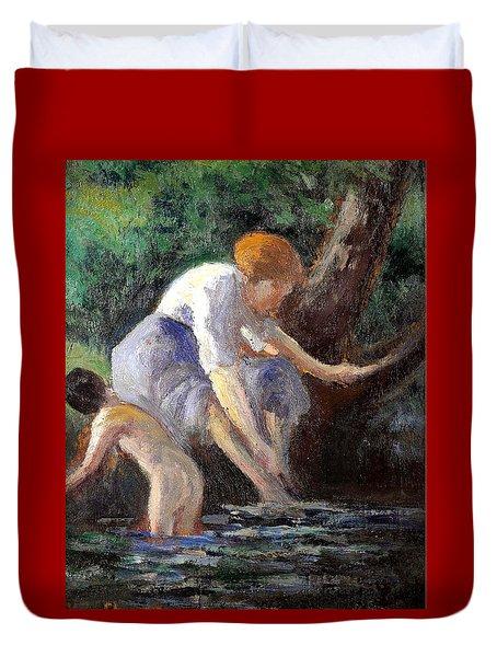 Bathing Duvet Cover by Maximilien Luce