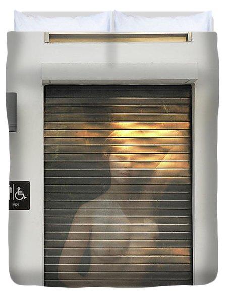 Bathroom Door Nude Duvet Cover