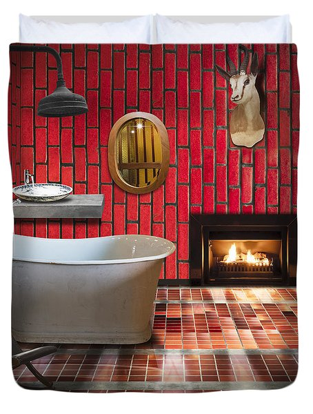 Bathroom Retro Style Duvet Cover