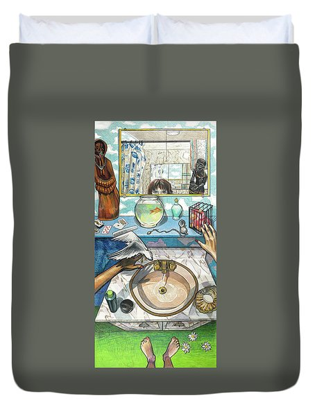 Bathroom Self Portrait Duvet Cover by Bonnie Siracusa