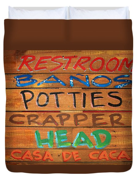 Bathroom Sign Duvet Cover