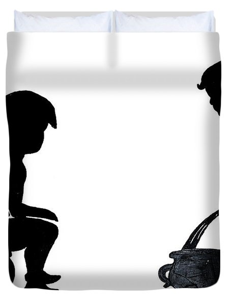 Bathroom Silhouettes Duvet Cover
