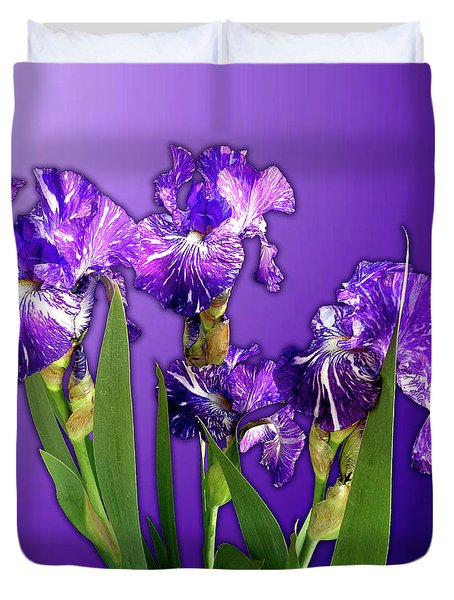 Batik Irises Duvet Cover