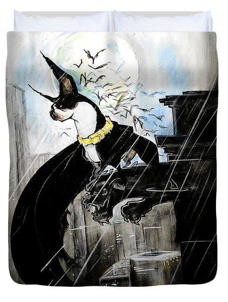 Batman Boston Terrier Caricature Art Print Duvet Cover