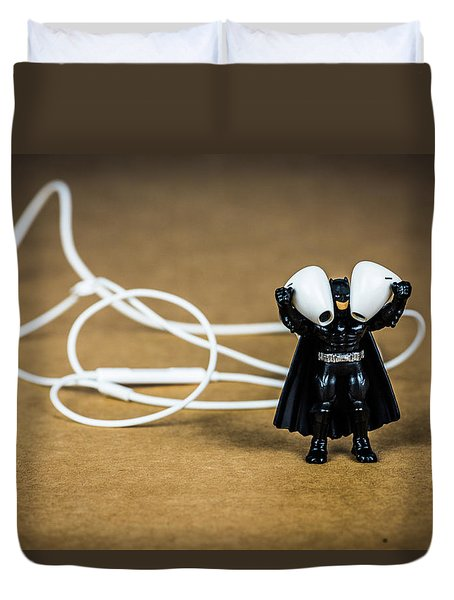 Batman Likes Music Too Duvet Cover