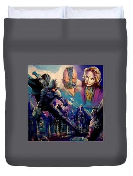 Duvet Cover featuring the painting Batman by Paul Weerasekera