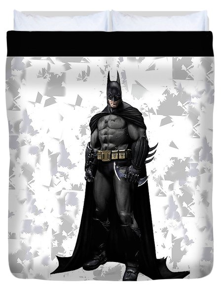 Duvet Cover featuring the mixed media Batman Splash Super Hero Series by Movie Poster Prints