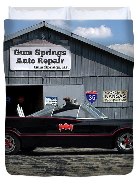 Duvet Cover featuring the photograph Batmobile Tv Replica by Tim McCullough