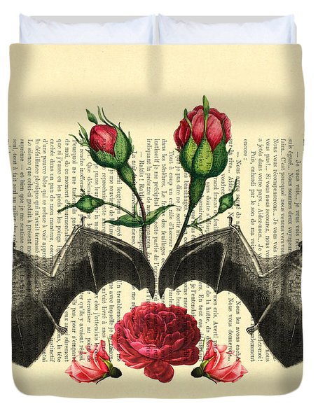 Bats With Angelic Roses Duvet Cover