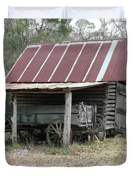 Battered Barn And Weathered Wagon Duvet Cover by Al Powell Photography USA