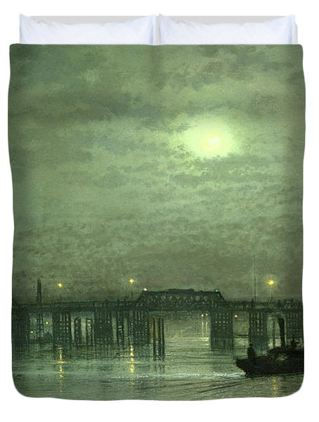 Battersea Bridge By Moonlight Duvet Cover by John Atkinson Grimshaw