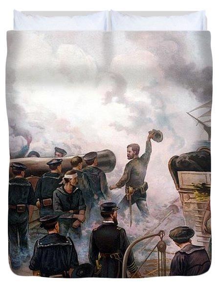 Battle Between Kearsarge And Alabama Duvet Cover