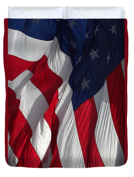 Duvet Cover featuring the photograph Battle Flag Flies Aboard Uss Cape St. George by John King