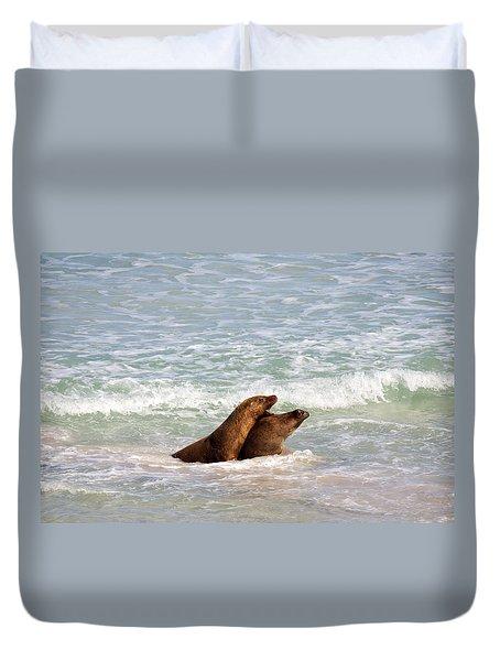 Battle For The Beach Duvet Cover by Mike  Dawson
