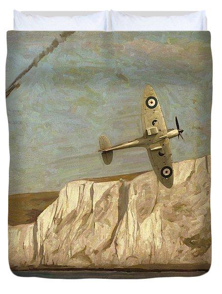Battle Of Britain Over Dover Duvet Cover