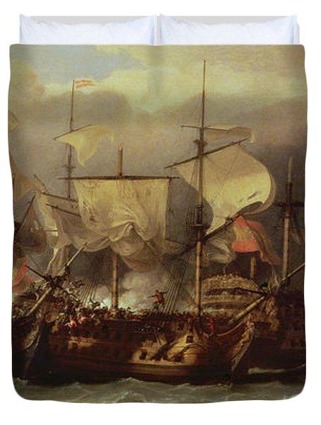 Battle Of Cape St Vincent Duvet Cover by Sir William Allan
