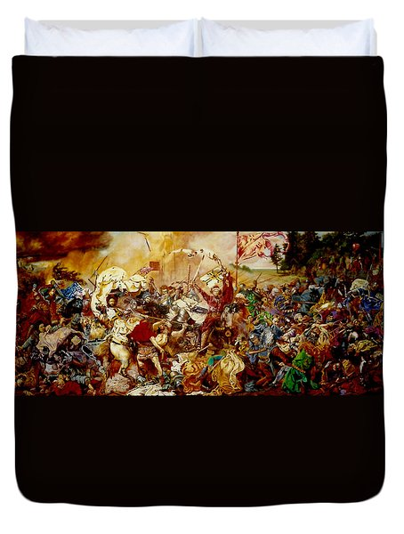 Duvet Cover featuring the painting Battle Of Grunwald by Henryk Gorecki