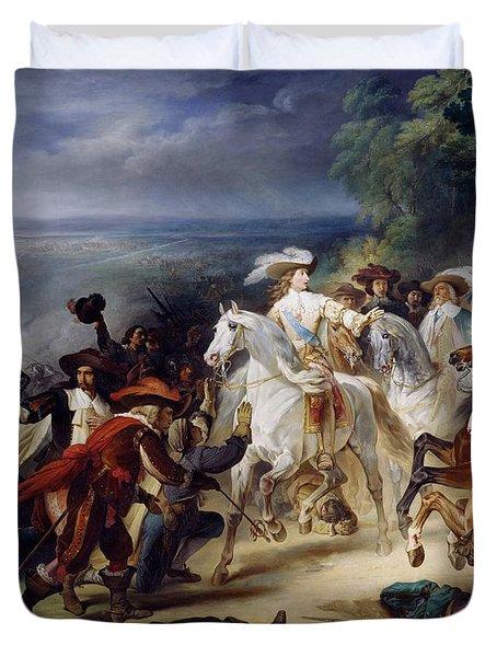 Battle Of Rocroy Duvet Cover by Francois Joseph Heim