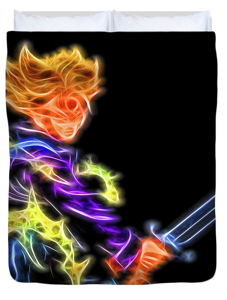 Duvet Cover featuring the digital art Battle Stance Trunks by Ray Shiu