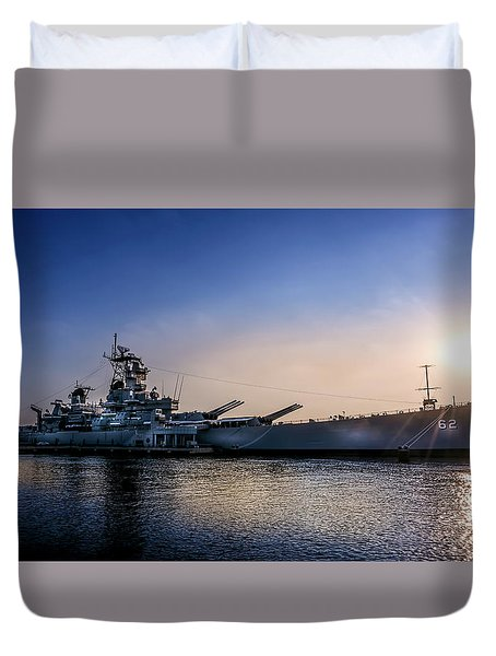Duvet Cover featuring the photograph Battleship New Jersey by Marvin Spates