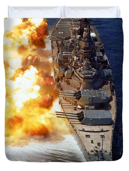 Duvet Cover featuring the photograph Battleship Uss Iowa Firing Its Mark 7 by Stocktrek Images