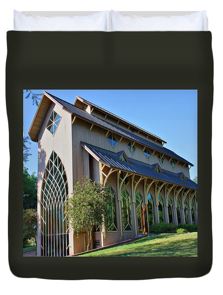 Duvet Cover featuring the photograph Baughman Meditation Center - Outside by Farol Tomson