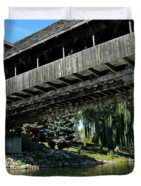 Duvet Cover featuring the photograph Bavarian Covered Bridge by LeeAnn McLaneGoetz McLaneGoetzStudioLLCcom
