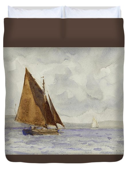Duvet Cover featuring the painting Bawley Running Up The Coast by Henry Scott Tuke