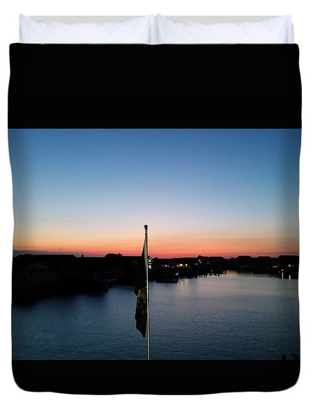 Duvet Cover featuring the photograph Bay At Day's End by Robert Banach