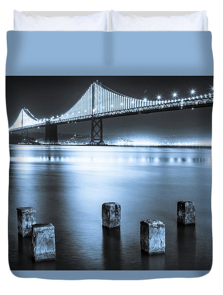 Bay Bridge 1 In Blue Duvet Cover