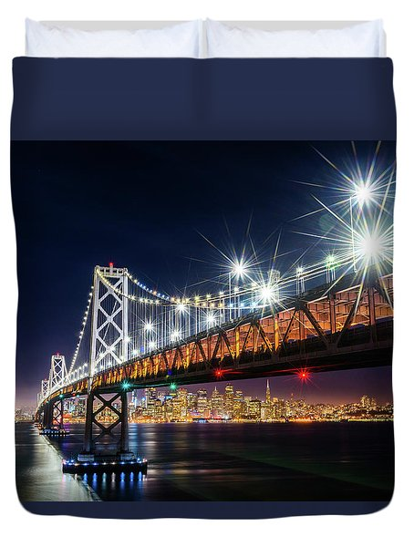 Bay Bridge And San Francisco By Night 5 Duvet Cover