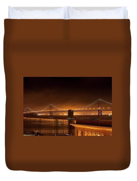Bay Bridge At Night Duvet Cover