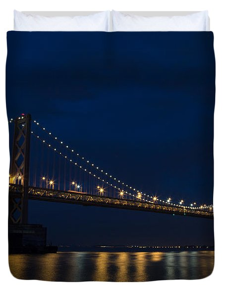 Bay Bridge At Night Duvet Cover