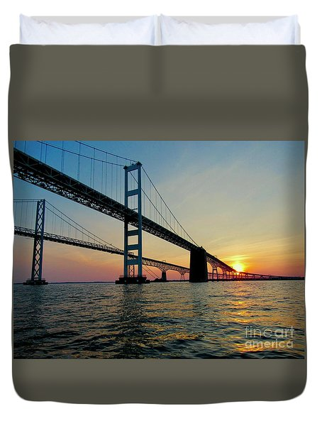 Bay Bridge At Sunset  Duvet Cover