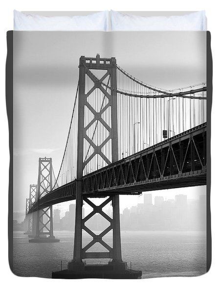 Bay Bridge San Francisco San Francisco - Black And White Duvet Cover