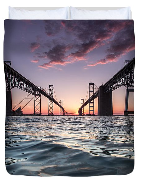 Bay Bridge Twilight Duvet Cover
