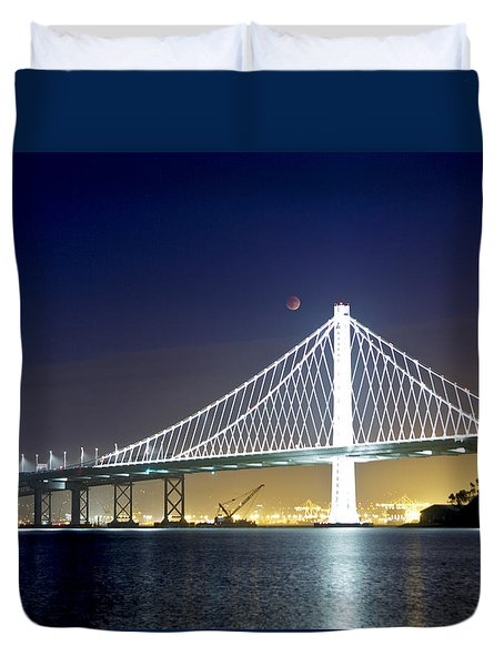 Bay Bridge Under A Blood Moon Duvet Cover