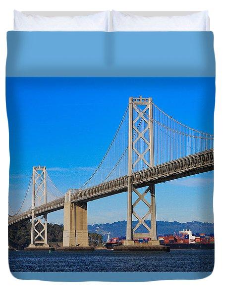 Bay Bridge With Apl Houston Duvet Cover