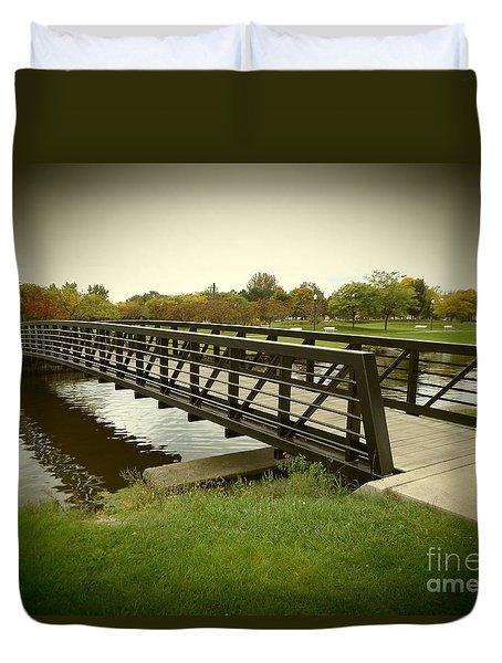 Bay City Walking Bridge Duvet Cover by Erick Schmidt