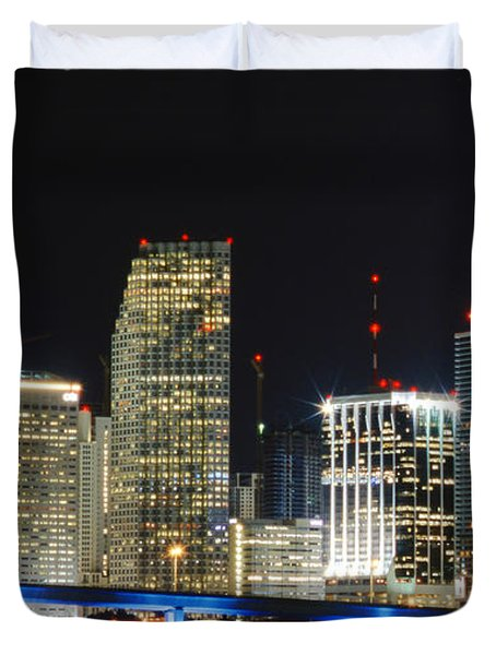 Bay Front Miami Skyline Duvet Cover