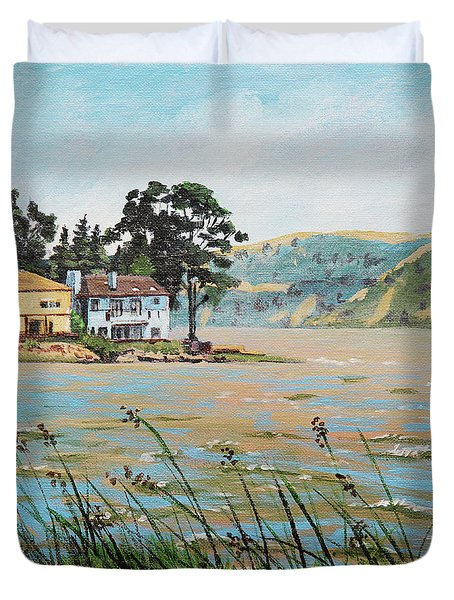 Bay Scenery With Houses Duvet Cover